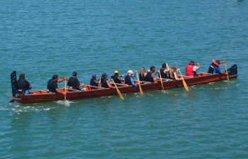 Visitors can try waka rowing