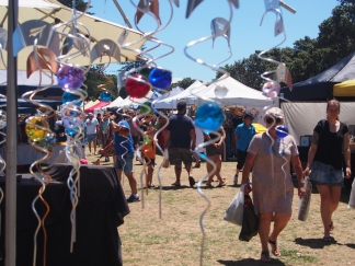 Craft and food stands fill the field