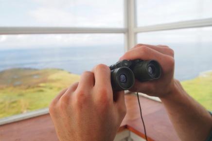 The bothy has binoculars!