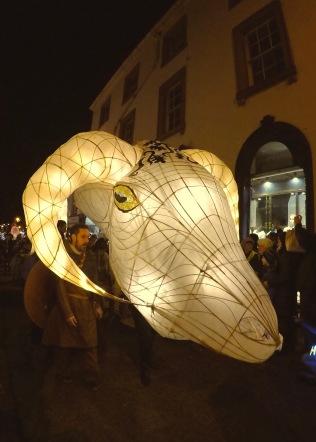 Paper lanterns glowed in the dark