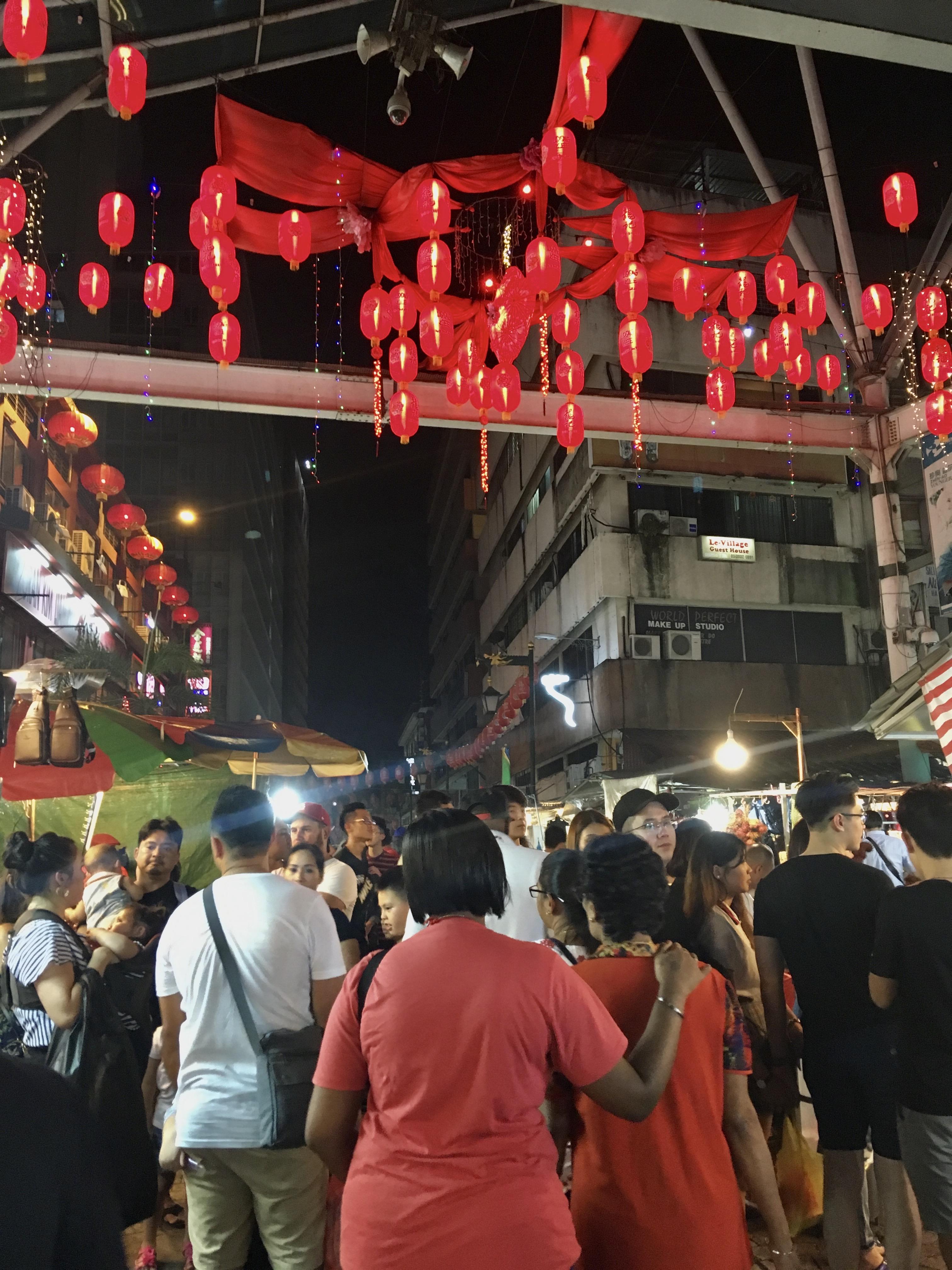 Busy street market in KL
