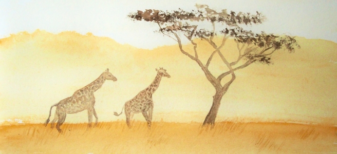 Watercolour painting of two giraffes