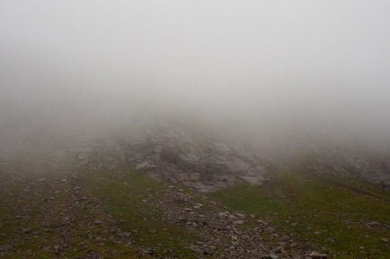 Clouds covering the climbing route