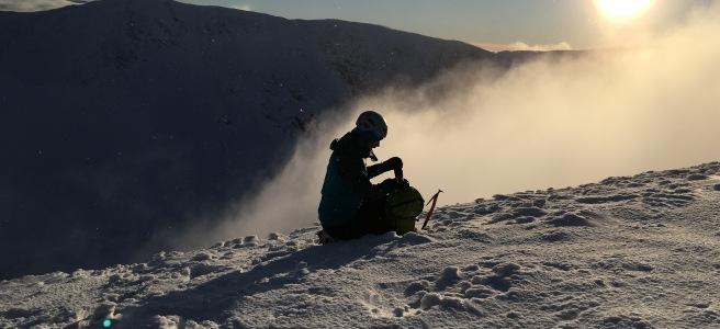 Man on a snowy mountain