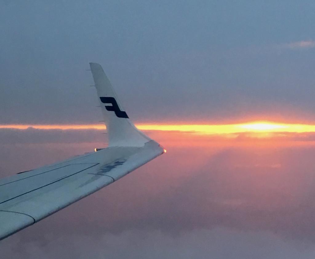 Finnair airplane wing