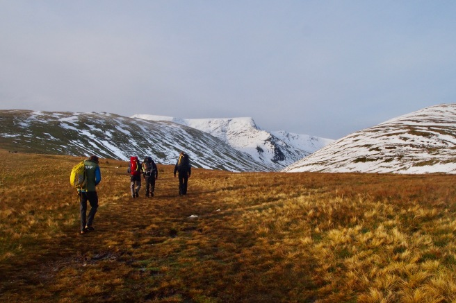 Path to Blencathra with snowy fells
