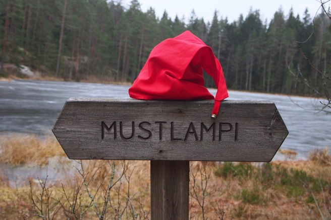sign with elf hat
