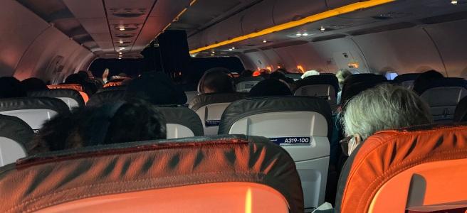 sunrise inside an airplane